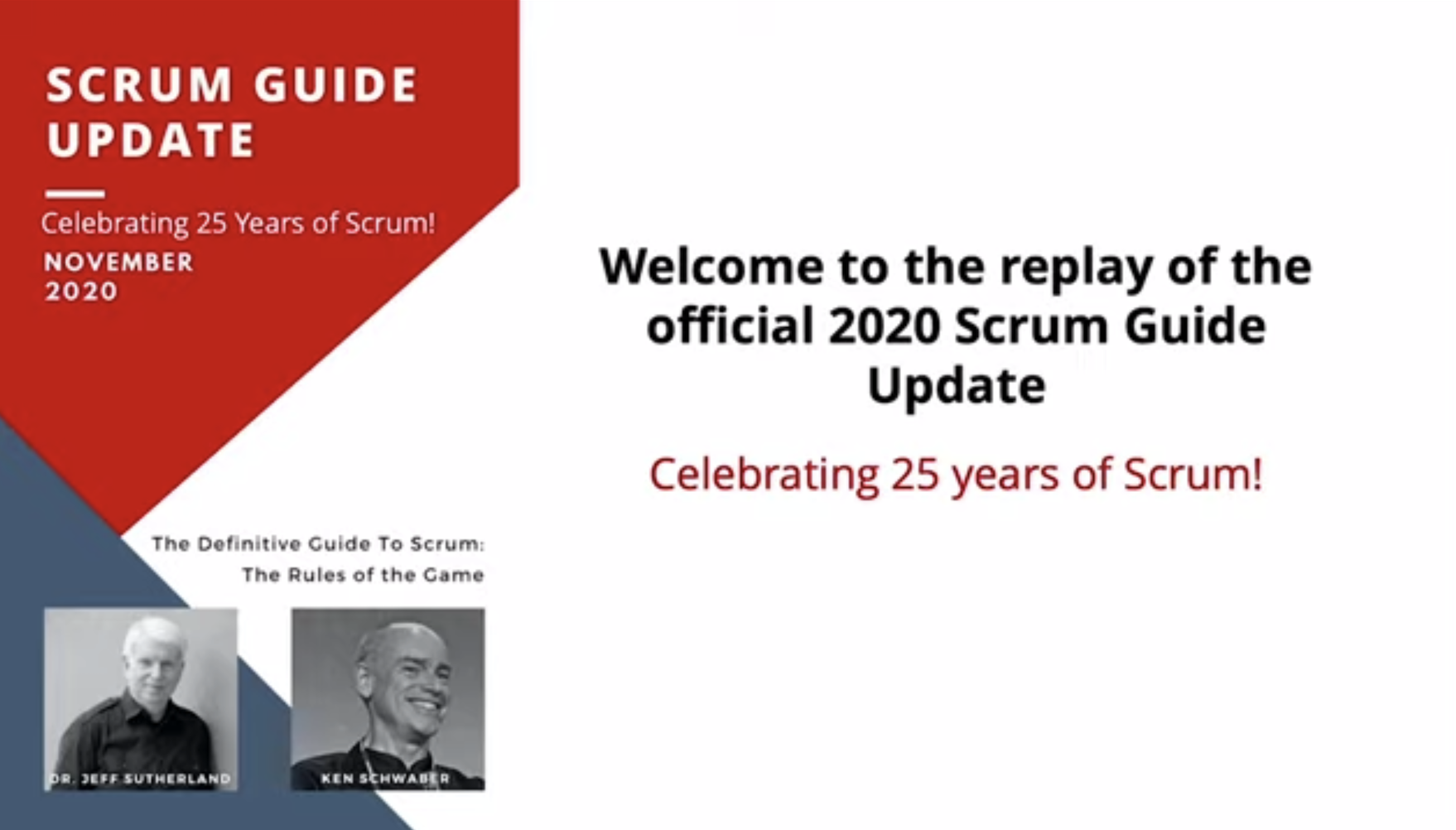 Publication of the new Scrum Guide (November 2020)